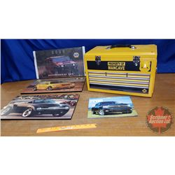 Mancave Collector Combo: Hardboard Car Pics, Guinness World Records Book, Airplane Bottles, Tool Box