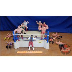 """Vintage WWF Wrestling 8"""" Figurines (13) (Rubber) & Wrestling Ring"""