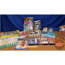 Box Lot: Sports Cards, Collectibles, Books & Posters (See Pics)