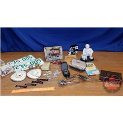 Tray Lot - Collector Combo: Coin Bank, Michelin Man Bobble Head, Transistor Radio, Rycroft Hats, SK