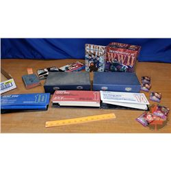 Tray Lot: Slide File Boxes, Elvis DVD's, Coleco Quiz Whiz, WWII VHS Documentary, etc