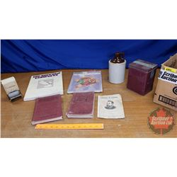 Box Lot: Collector Combo (Books, Marbles, Crock Jug, Standard Oil Match Box Holder, etc)
