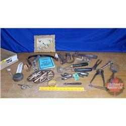 Tray Lot: Masonry Moulding Tools, Bell, Toy Wagon Wheels, etc (See Pics)