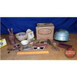 Tray Lot: Cig Case, Lighter, Matchbox Holder, Hollywood Hair Dryer in Box, etc)