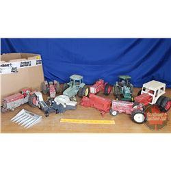 Box Lot : Farm Toys (Need Repairs) & Parts (See Pics)