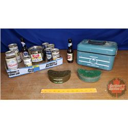 Tray Lot: Old School Fishing Weekend Theme (Beer Bottles/Cans, Bait Boxes, Fish Finder)
