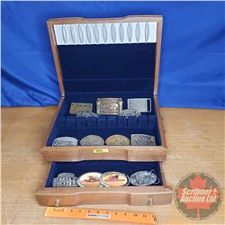Belt Buckle Collection (13) in Silverware Case (See Pics)