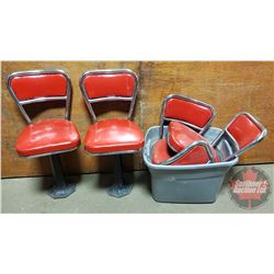 """Cast Base: Diner/Parlor Swivel Chairs (2 Complete 32""""H) & (3 without Bases)"""