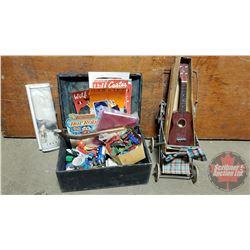 Wooden Box Lot: Vintage Toys, Books, Doll Stroller, Ukulele (See Pics)