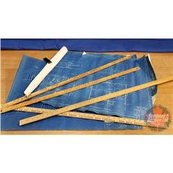 Vintage Blue Prints & Variety Yard Sticks (4)