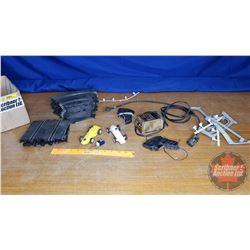 Box Lot: Toy Slot Car Track Pcs & Cars & Transformer