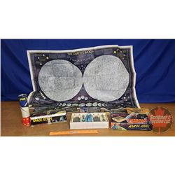 Space Theme Trio : Scope in Box, Morse Code in Box, Moon Map & Red Rose/Blue Ribbon Collector Cards/
