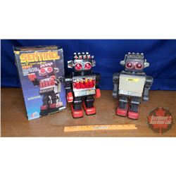 """Sentinel 13"""" Giant Walking Robot (2) (1 New in Box) & (1 Used No Box)"""