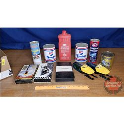 Tray Lot: Vintage Snowmobile Theme (VHS Tapes, 2 Avon Aftershave, 2 Stroke Engine Oil (5 Full & 1 Em