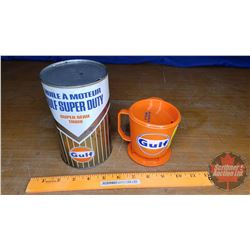 "Gulf Superduty Oil Tin & Travel Mug (6-1/2"" x 4""Dia)"