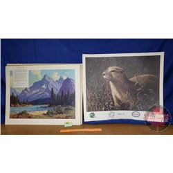 """Prints (2): Esso """"Gopher It"""" (22"""" x 25"""") & GM """"Athabasca River"""" (19"""" x 25"""")"""