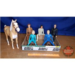 Johnny West Marx Collectible Toys (1 Horse & 5 Figures) (See Pics)