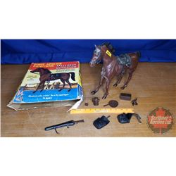 MARX Fort Apache Fighters - Comanche - Moveable Cavalry Horse with Box