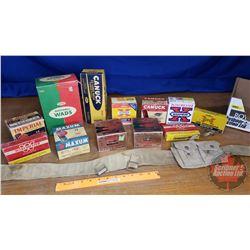 Tray Lot: Variety Vintage Ammo Boxes & Magazine Belt (See Pics)