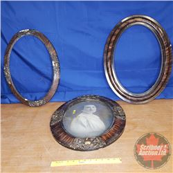 """3 Oval Convex Frames (26"""") (One with Glass & Picture not attached)"""