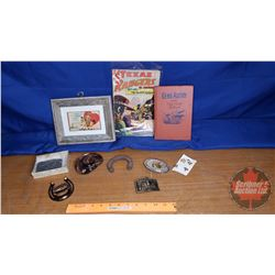 Tray Lot: Western Theme (Gene Autry Book, Texas Rangers Comic, Buckles, etc)