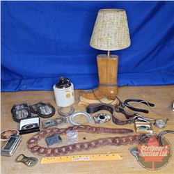 Tray Lot: Western Theme (Lamp, Jug, Horse Shoes, Buckles, etc)