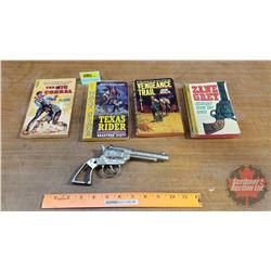 """Western Books (4) & 1 Toy Cap Gun """"Young Buffalo Bill"""""""