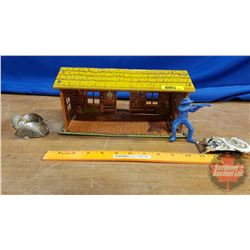 Collector Combo: Tin Toy Cabin, Boot Tips, Belt Buckle, Toy Cowboy