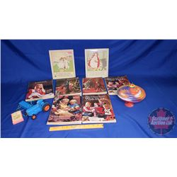 Vintage Sears Wish Books, Spinning Tops, 2 Framed Prints, Toy Tractor, Holly Hobby Cards)