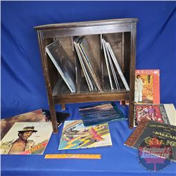 """Record Stand with Albums (30) Variety (Cabinet 27""""H x 22""""W x 14""""D)"""