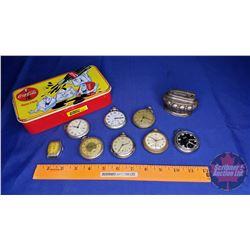 Pocket Watch Collection in Coca Cola Tin + Desk Lighter