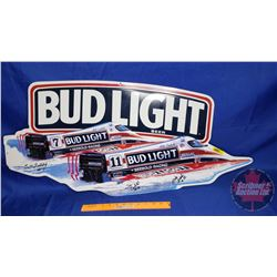 """Bud Light Beer Tin Sign (3 Autographs - See Pics) (42"""" x 19-1/2"""")"""