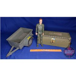 MARX Toys : Army Wagon & 1960's Stoney Smith Figure & Accessories in Cardboard Footlocker