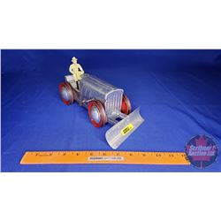 """Tin Wind up Toy Dozer with Driver (4""""H x 9""""L)"""
