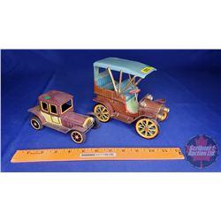 """2 Friction Tin Toy Cars (5-1/2""""H x 4""""W x 7""""L) & (3""""H x 2-1/2""""W x 6""""L)"""