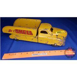 """Metal Toy Dump Truck - Buddy L """"SHELL"""" (4""""H x 4""""W x 13""""L)"""