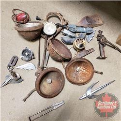"Box Lot: Vintage Automotive Parts (Headlight, Lamp Bezelsk, Hood Orn, ""STOP"" Tail Light, etc)"