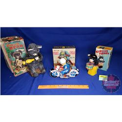 Tin Toys (3) in Orig Boxes : Picnic Bear ; Police Cycle ; Circus Teddy