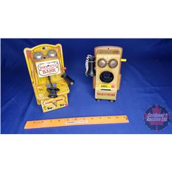 2 Tin Telephone Toy Coin Banks