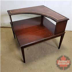 """Leather Top 2 Tier Corner Side Table (28""""H x 32""""W x 32""""D)"""