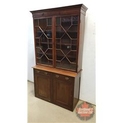 """Lovely China Cabinet - Lattice Doors (Adjustable Drawers) 2 Piece (76-1/2""""H x 42""""W x 17-1/2""""D)"""