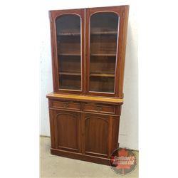 "2 Piece China Cabinet Radius Corners with Glass Doors (78""H x 41""W x 16""D)"