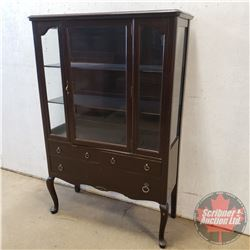"""China Hutch w/3 Drawers (Missing Right Side Glass) (62""""H x 40""""W x 16""""D)"""