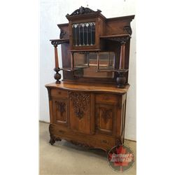 Incredible Oak Buffet China Hutch - Bevelled Mirror - Stained Glass Door (2 Piece)