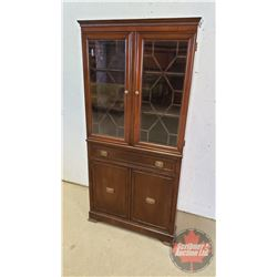 "Corner Curio Cabinet - Lattice Glass Doors (66""H x 32""W x 19""D)"