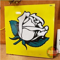 "White Rose (image) Enamel Double Sided Sign (18""H x 17-1/2""W)"