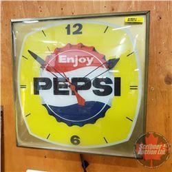"Pepsi Clock - Light Up - Convex Glass Front (15"" x 15"" x 4"")"