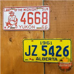 Pair of Vintage Lic Plates : Yukon 1966 & Alberta 1961