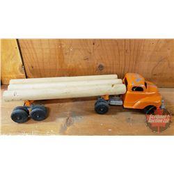 "Metal Toy ""Hubley Truck & Trailer"" Log Hauler (4""H x 4-1/4""W x 17""L)"