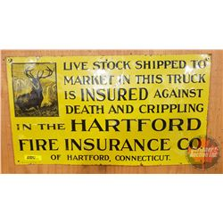 """Harford Fire Insurance Co. Sign - Single Sided Tin - Embossed (11""""H x 19-1/2""""W)"""